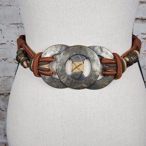 VTG Metal Corded Waist Belt  27 EUC